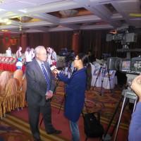 Интервью центральному китайскому телеканалу CCTV-русский дает руководитель представительства Россотрудничества Виктор Коннов